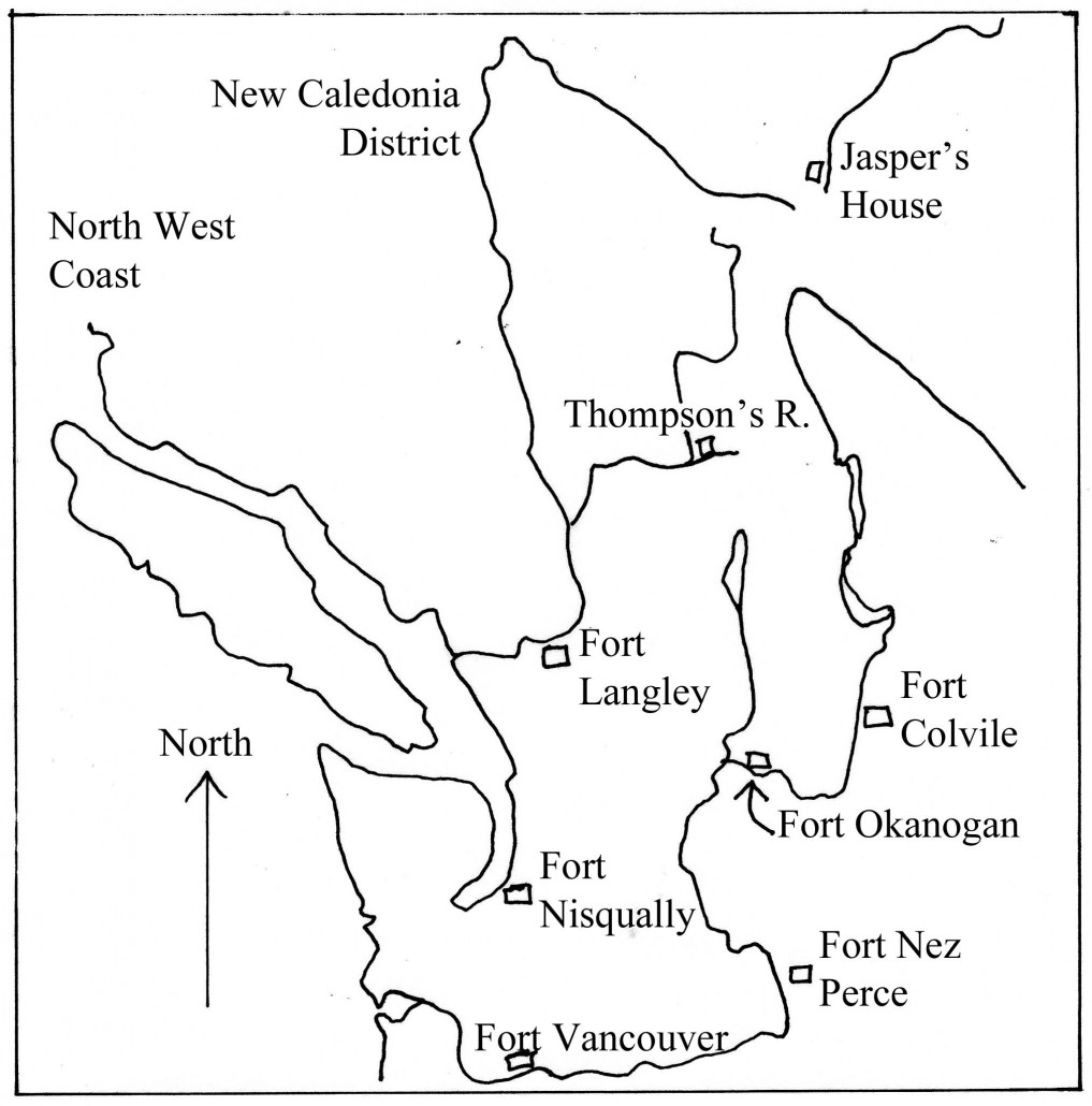 The Columbia district of the HBC, map