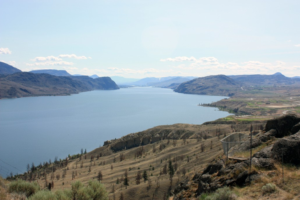Kamloops Lake, British Columbia, from its west end and looking toward modern-day Kamloops city