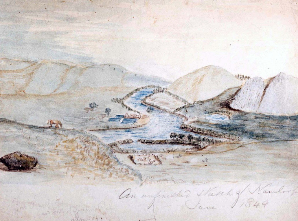 The old Thompson's River post was built on the east bank of the North Thompson River, and the new post of Kamloops constructed on the river's west bank, in 1843.