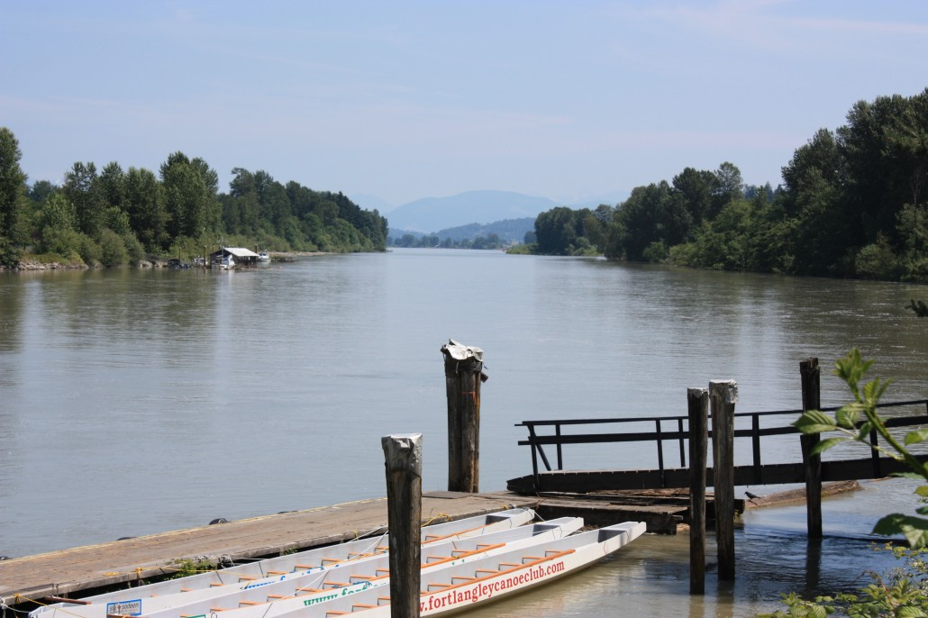 A view up the Fraser River from Fort Langley