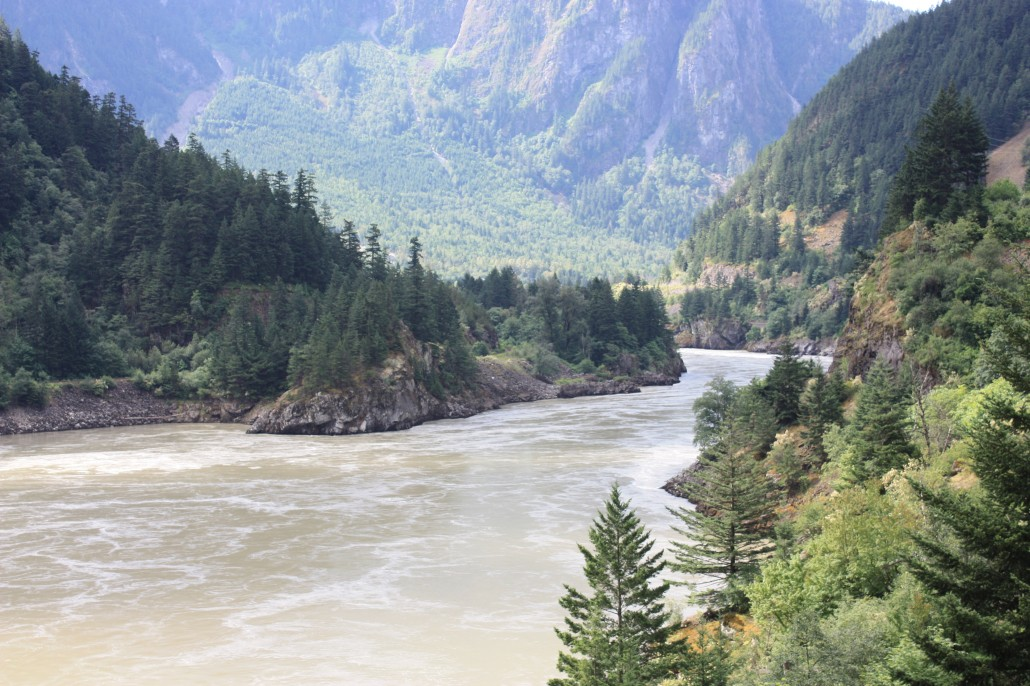 Fraser River looking south from Saddle Rock tunnel toward Spuzzum and Yale, B.C.
