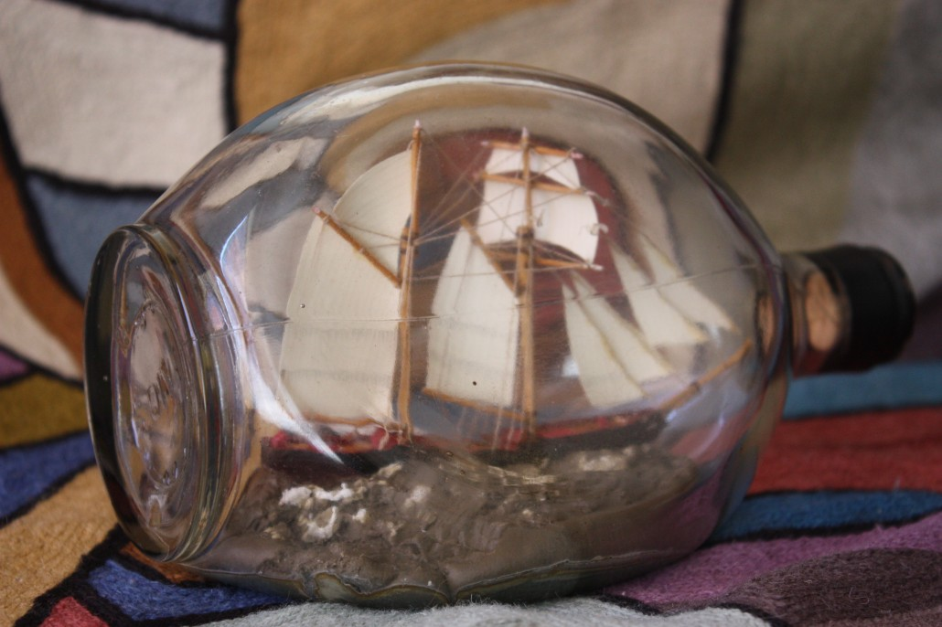 Early 1900's sailing ship in a bottle