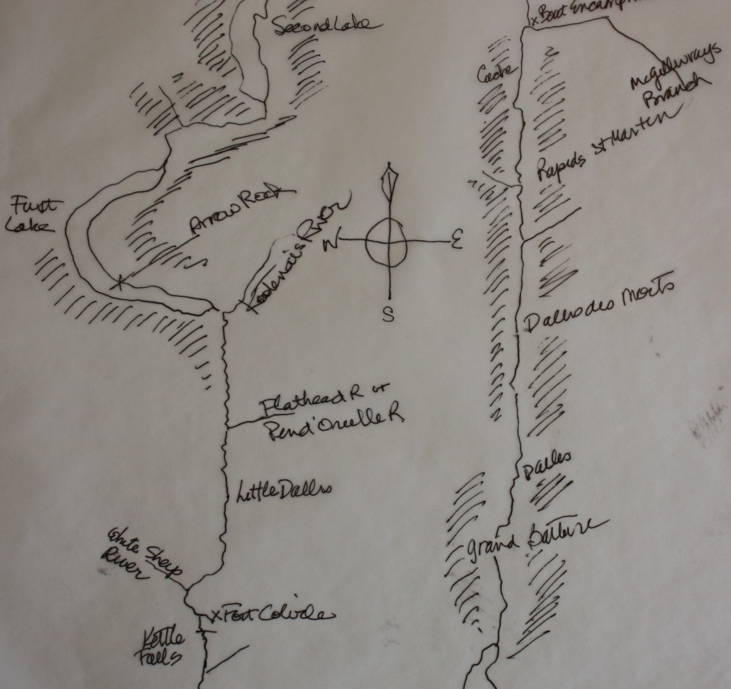 Facsimile map of the Columbia River between Fort Colvile and the Boat Encampment