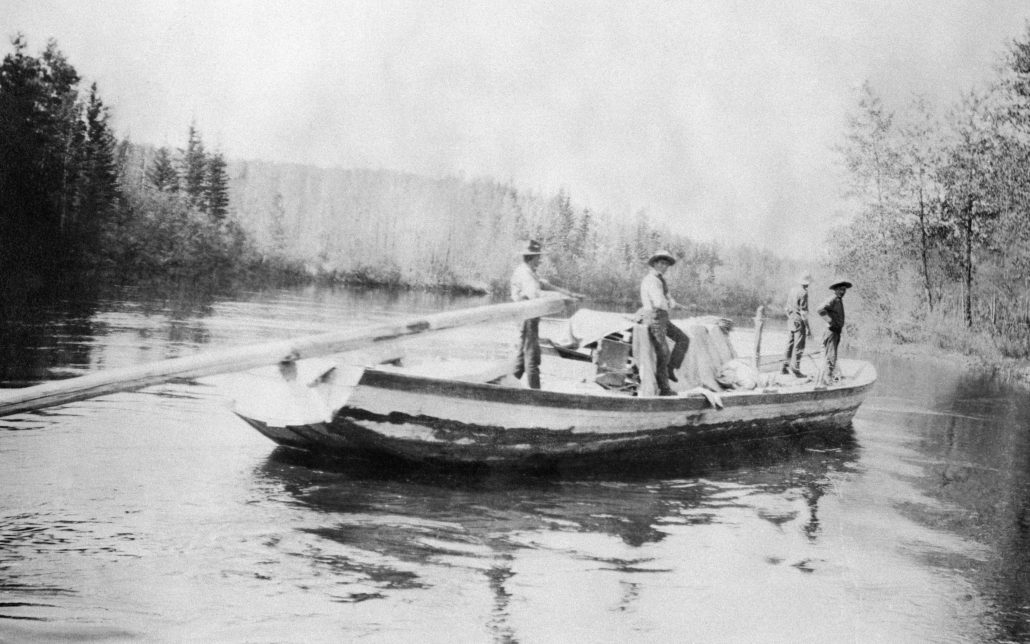 A sturgeon-nosed boat on the Athabasca River.