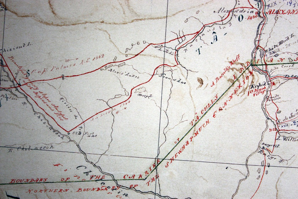 Chilcotin Post, from A.C. Anderson's 1867 Map of British Columbia, CM/F9, Courtesy of the Royal BC Museum, B.C. Archvie. Detail from original map. Fort Alexandria is in the top right hand corner of this section of the map